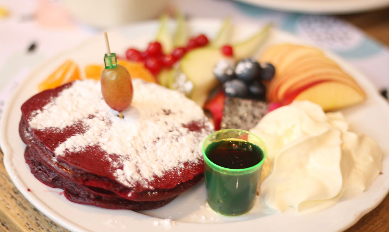Corner Bakery Red Velvet Pancakes